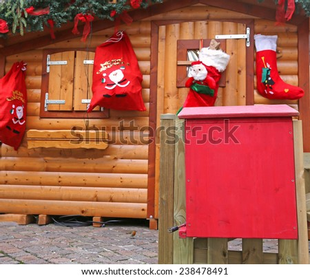 Santa's cottage with the mailbox to post the letters of children