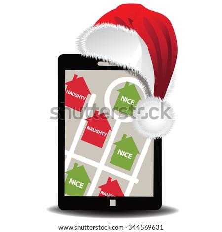 Santa's GPS app to see who's naughty or nice.  - stock photo