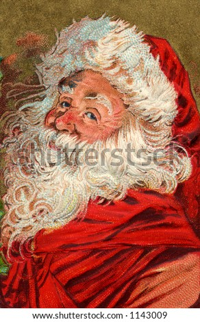 Santa's Greeting - a vintage greeting card illustration (circa 1910) - stock photo