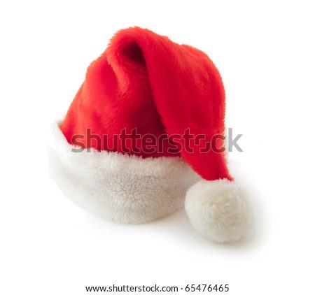 Santa's hat isolated on white - stock photo