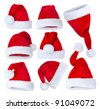 Santa's Hat set over white - stock photo