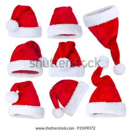 Santa's Hat set over white - stock photo