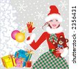 Santa's helper - beautiful young lady with baubles and teddy bear - Christmas background ( for vector EPS see image 3194379 )  - stock photo