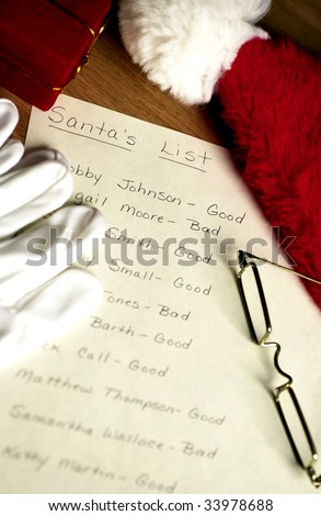 santa's list - stock photo