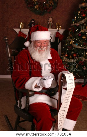 Santa's List Close Up - stock photo