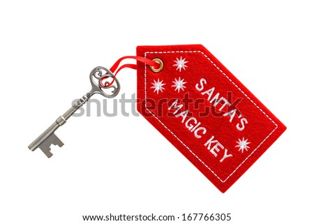 Santa's magic key isolated on a white background with clipping path. - stock photo