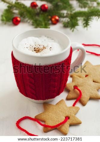 Santa's milk and cookies - stock photo