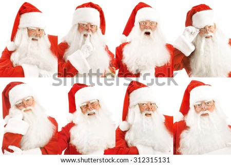 Santa's portraits with different emotions - stock photo