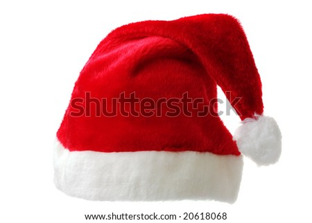 Santa's red hat isolated on white - stock photo