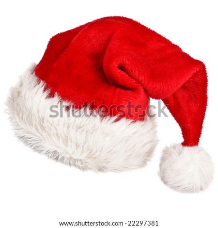 Santa's red hat isolated on white background 2 - stock photo