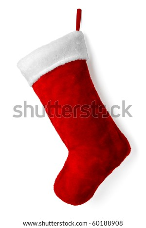 Santa's red stocking. Concept of christmas or holiday. - stock photo