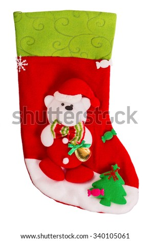 Santa's red stocking. Concept of christmas or holiday. Christmas sock isolated on white background