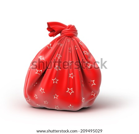 Santa`s sack of gifts, 3d image - stock photo