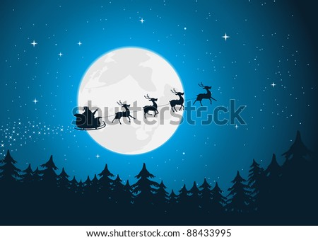Santa's Sleigh/ Illustration of santa driving his sleigh with reindeer running in the moonlight. Merry  christmas !
