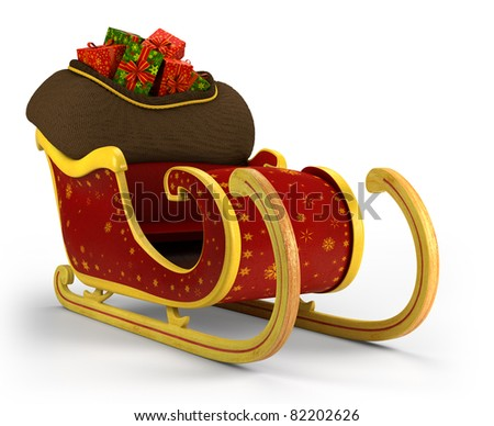 Santa's sleigh loaded with presents on white background - high quality 3d illustration