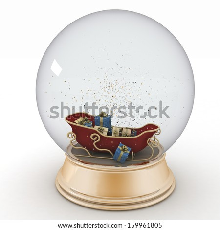 Santa's sleigh with Christmas gifts inside a snow ball - stock photo