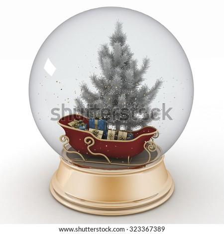 Santa's sleigh with Christmas gifts inside a snow ball - stock photo