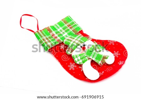Santa's stocking, Christmas sock isolated on white background