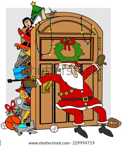Santa's stuffed closet - stock photo