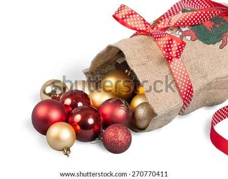 Santa. Santa Claus red bag with Christmas toys on white background. File contains a path to isolation. - stock photo
