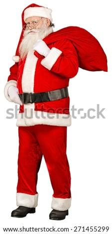 Santa. Santa Claus standing isolated on white background - stock photo
