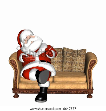 Santa sitting on a sofa, smoking a cigarette, and falling asleep. Isolated on a white background.
