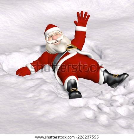 Santa Snow Angel - Santa's been making snow angels.  Santa sitting up and waving at you from the snow.  - stock photo