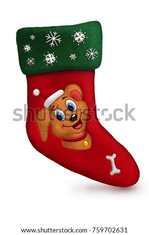 Santa  sock 3d with snow dog