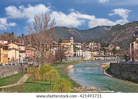 Santa Sofia in province of Forli, Emilia Romagna, Italy: landscape of the little town with the river and the Apennine mountains