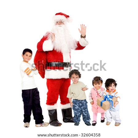 santa standing with gift sack and some children isolated - stock photo
