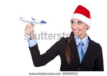 Santa stewardess with  plane, travel with us for the holidays,  isolated on white background