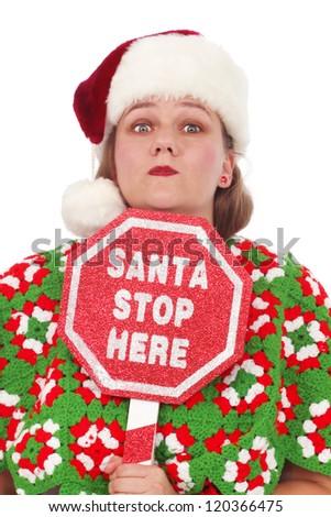 Santa stop here sign - stock photo