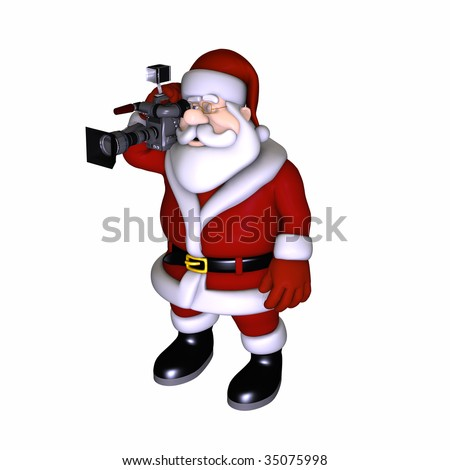 Santa taking pictures with a Video camera. Isolated on a white background.