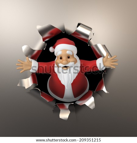 Santa tears the metal - stock photo