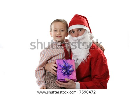 Santa together with the little boy and a gift on a white background - stock photo