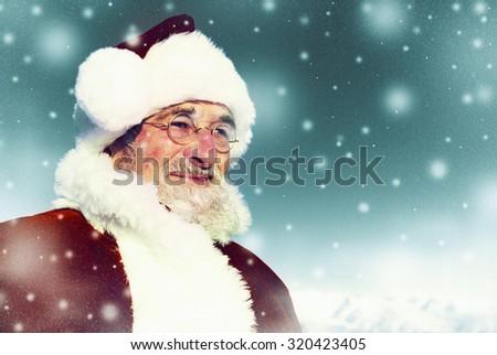 Santa Winter Seasonal New Year Snowing Concept - stock photo