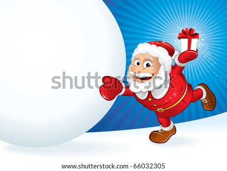 Santa with gift and huge snowball - illustration for your own text ---------> version eps vector at my gallery - stock photo
