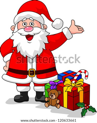 Santa with gifts - stock photo