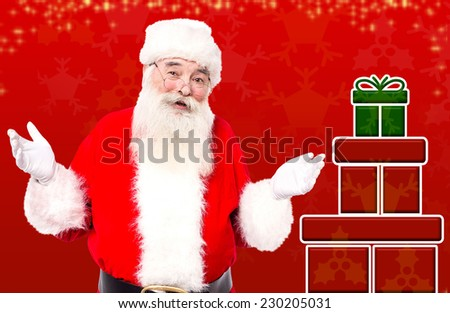 Santa with gifts ready to share on Christmas eve