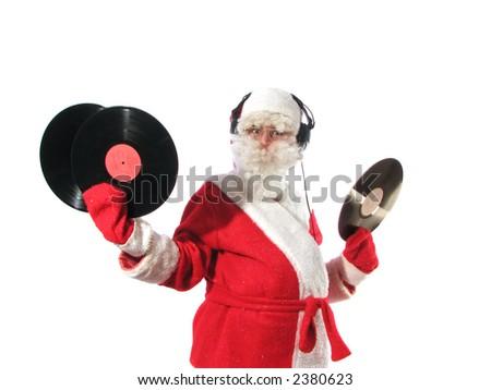 santa with headphones - stock photo