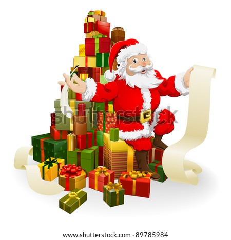 Santa with his list and and quill pen seated on a stack of gifts - stock photo