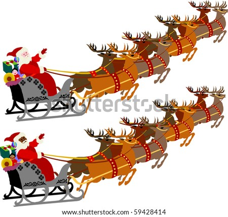 Santa with Sleigh and Reindeer, raster version illustration of 2 versions. - stock photo