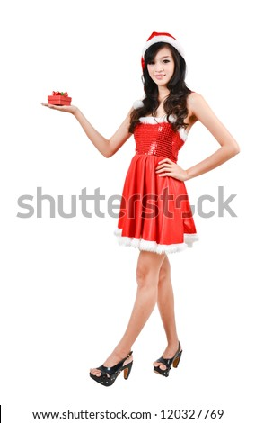Santa woman  holding a gift box isolated on white background