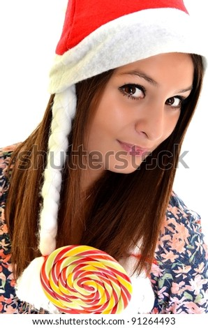 santa woman with lollipop