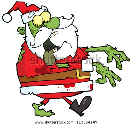 Santa Zombie Walking With Hands In Front. Raster Illustration.Vector version also available in portfolio. - stock photo
