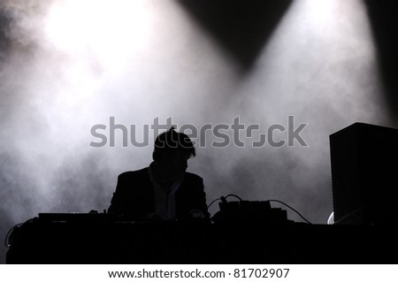 SANTANDER, SPAIN - JULY 23: James Murphy, from LCD Soundsystem band, performs as DJ at Santander Music Festival on July 23, 2011 in Santander, Spain.