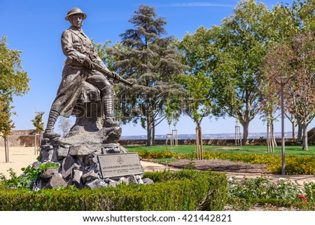 Santarem, Portugal. September 11, 2015:  Memorial to the victims of the First World War (the Great War) in Portas do Sol Garden. - stock photo