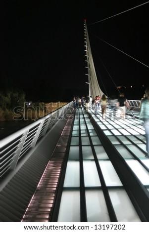Santiago Calatrava designed this Sundial Bridge at Turtle Bay, Redding, California. - stock photo