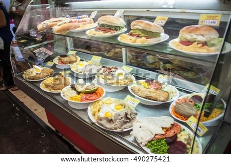 SANTIAGO, CHILE - FEB 28, 2015: Meals on display in a eatery in city center in Santiago de Chile