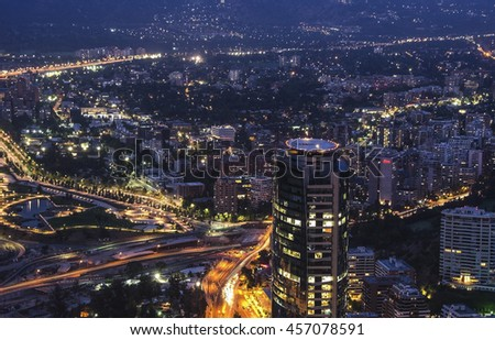 SANTIAGO, CHILE 15 JANUARY 2016 - The skyline of Santiago de Chile by night time